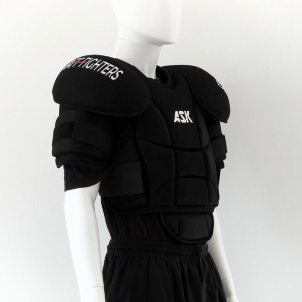 Full Chest pad and Arm Protection by stafffighters front view