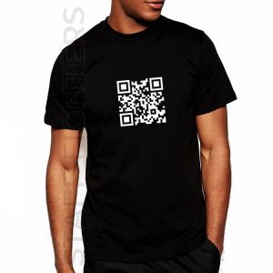 T-shirt with graphics with mysterious QR code
